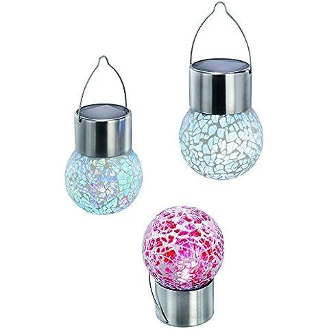 Goeswell Solar motorizado colgando luz de de acero inoxidable color RGB de romántica cristal crujido luz para la decoración jardín (paquete de 4)