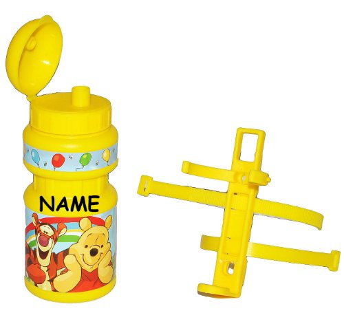 Fahrradtrinkflasche - Winnie the Pooh - mit Halterung incl. Name - Halter für Kinder Fahrradflasche Fahrrad Trinkflasche Mädchen Jungen Flaschenhalter Kunststoffflasche - Tigger Bär