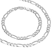 Men's 5.5mm Solid 925 Sterling Silver Figaro Link 56 cm Chain & 23 cm Bracelet Set