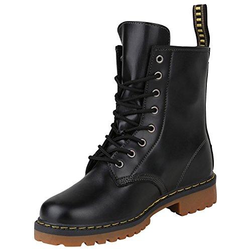 Bootparadies Stivali Da Donna Stivali Da Donna Stivaletti Stivali Alti Alla Caviglia Stivali Scarpe Profilo Suola Nera Flandell