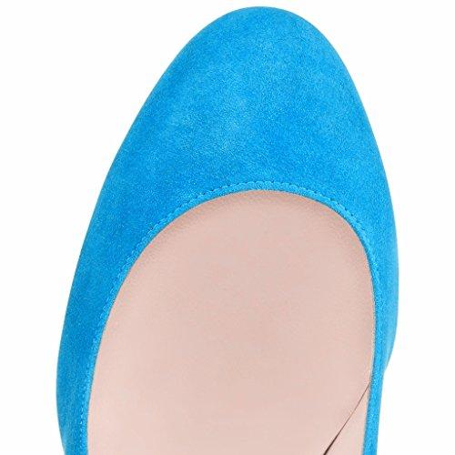 EDEFS Femmes Artisan Fashion Escarpins Bout Ronds en Suède Couleurs Vives Chaussures à talon de 100mm Bleu Bleu