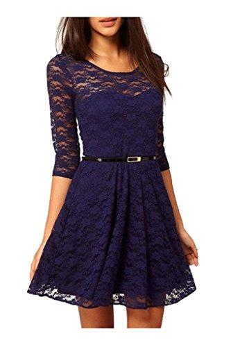 Oderola Damen 3/4 Ärmeln Kurzkleid Spitzenkleid Tunikakleid Cocktailkleid Abendkleid mit Guertel Tiefes Blau