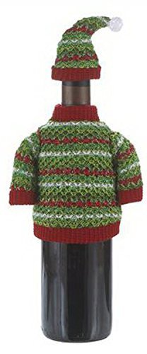 Green & Red Holiday Sweater Wine Bottle Decoration by Ganz by Ganz (Sweater Holiday Red)