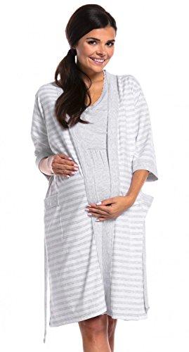 e9062d39a Zeta Ville - Premamá camisón set bata embarazo lactancia de rayas -.