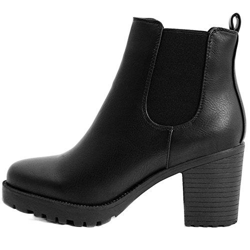 FLY 4 Chelsea Boots Plateau Stiefeletten in vielen Farben und Mustern (36, Schwarz PU) High Heel Gummi