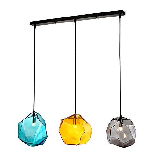 Jia Sie JIA gefärbtem Glas Deckenpendelleuchte Anhänger Licht Lampe mit Deckenmontage, metall, Rectangle Canopy (Drei-licht-anhänger Europa)