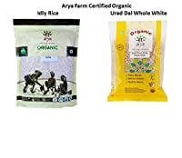 Arya Farm Certified Organic Idly Rice 1 Kg and Certified Urad Dal (Whole White) (Skinless), 500 g (Without Chemicals/Pesticides/Preservatives)