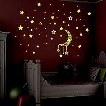 FAMILIZO Resplandor Fluorescente De Los Dormitorios De Los Cabritos En Las Estrellas Oscuras Pared DecoracióN De La Pared De Las Etiquetas Engomadas (Verde)