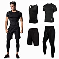 4Pcs Men's Sportswear Quick Dry Fitness Workout Suits with Compression Shirt Leggings Black XXL