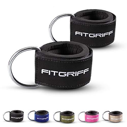 Fitgriff Komfort Fußschlaufen (2Stück) - für Fitness Training am Kabelzug - Fußfesseln für Damen und Herren (Black)