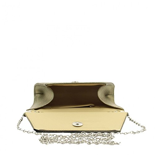 Ideal Shoes – by Swan – Pochette da sera effetto glitter vainatia Oro
