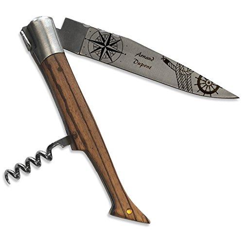 Personalisiertes Laguiole-Messer aus exotischem Eschenholz mit Korkenzieher und Piraten-Motiv