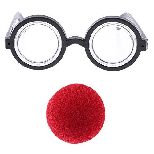 MagiDeal Clown Brille Rote Nase Dress Up Kostüm Requisiten Spaß Partei Bevorzugung