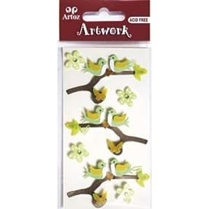 Artoz artwork stickers 3D oiseaux sur branche de fleurs et strass, fleurs, handmade (1) décoré