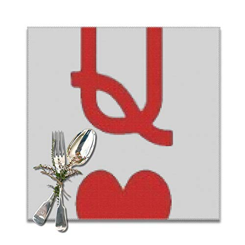 best gift Queen of Hearts Playing Card Logo Placemats for Dining Table,Washable Placemat Set of 6, 12x12 inches (Of Queen Hearts Halloween-diy)