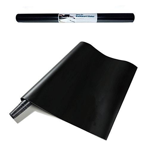 FANCY-FIX Tafelfolie Schwarz – Selbstklebende Tafel-Aufkleber – Blackboard Folie – Leicht anbringbare und abwischbare Kreidetafel Sticker Rolle (43x200 cm)