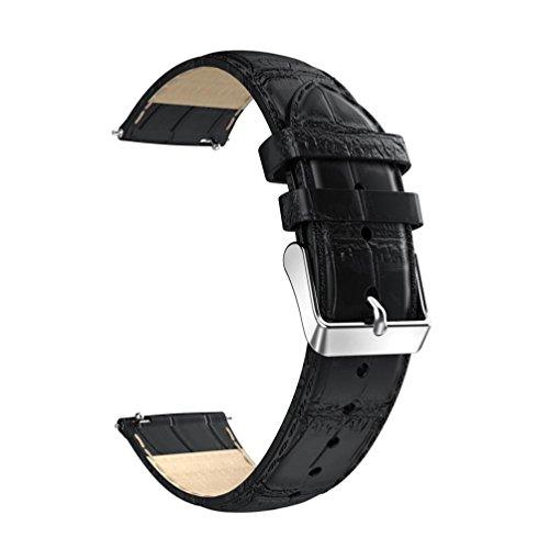 OverDose 18mm Lederband Ersatz Uhrenarmband Armband für Huawei Asus Zenwatch 2/LG Watch Style (A)
