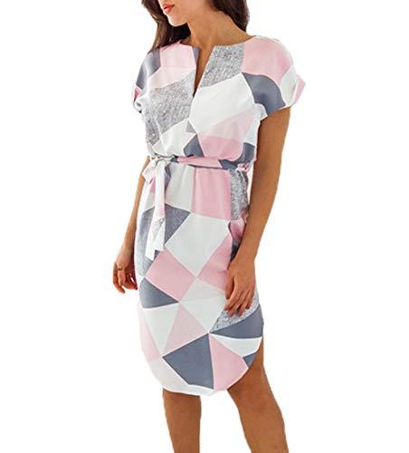Frühling Herbst Minikleid Damen Freizeit Langarm Rundhals Kleid mit Bandage Blusenkleider Mode Slim Kleider Wickelkleider Cocktailkleid...
