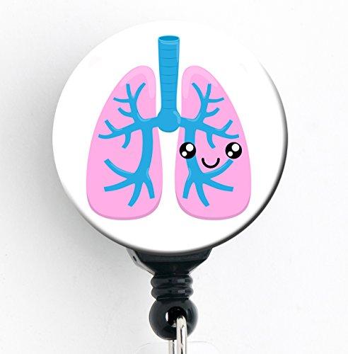 Lungen kawaii-Retractable Badge Reel mit Clip und extra langer 86,4cm Seil mit Drehgelenk, Badge Holder/pulmonologist/pneumologie/RT/Atemwege Therapeut