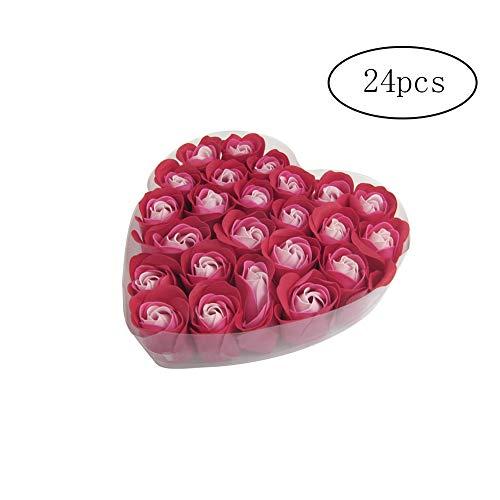 TrifyCore 24Pcs-duftende Bad-Seifen-Rosen-Blumen Duft mit Herz-Geschenk-Box für den Valentinstag -