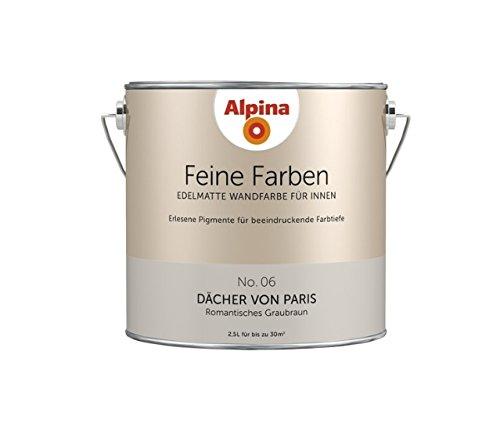Preisvergleich Produktbild Alpina 2,5 L. Feine Farben, Farbwahl, Edelmatte Wandfarbe für Innen (No.6 Dächer von Paris - Romantisches Taupe)