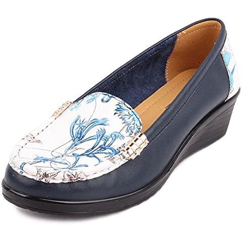 Pelle scarpe donne mezza età/Scarpe inferiori molli/Colour matching casual scarpe