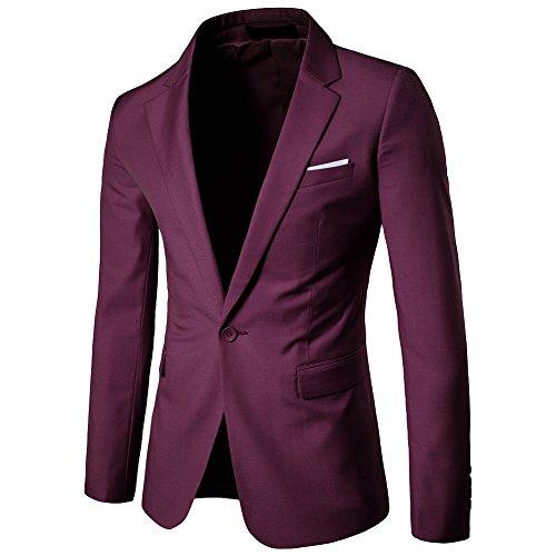 Veste Casual Elegant Slim Fit Blazer Un Bouton Costume Jacket Homme Rouge Foncé XL
