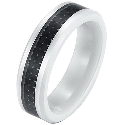 JewelryWe Schmuck 6mm Breite Weiss Keramik Ring abgeschrägte Kanten mit Schwarz Kohlenstoff Faser Inlay Damen Herren Hochzeit Band Größe 57 (Herren Schwarz Kohlenstoff Faser Ring)