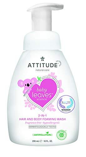 ATTITUDE Baby Leaves 2-in-1 Waschschaum für Körper und Haar - parfümfrei (1 x 295 ml)