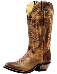 Botas de los EE.UU.-Botas, botas de cowboy BO-4236-72-C (pie normal), diseño de mujer, color marrón