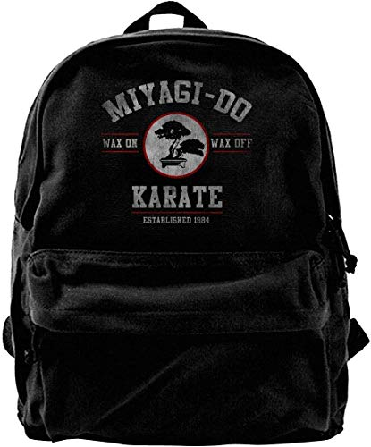 Canvas Backpack Miyagi Do Karate Kid Wax On Wax Off Rucksack Gym Hiking Laptop Shoulder Bag Daypack for Men Women