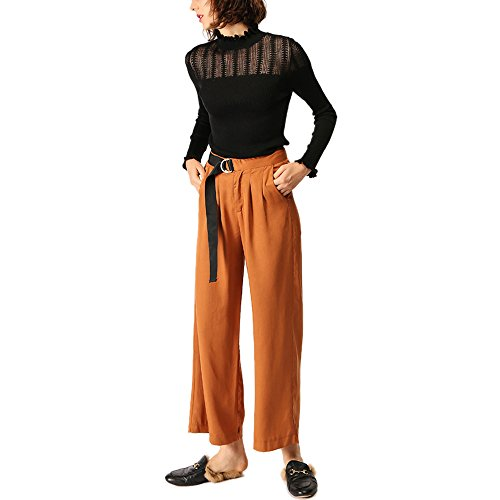 CICI RAN Frauen Knit Hollow Design Sexy Langarm Rundhals Strick Pullover Pullover Knit Frill Top