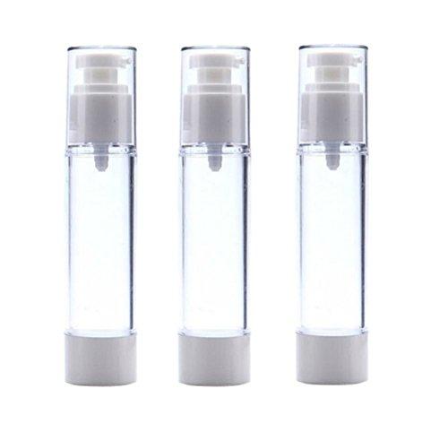 Airless-pumpe (3 STÜCKE Leere Nachfüllbare Airless Pumpe Flasche-Transparent und Weiß Airless Vakuumpumpe Creme Lotion Flasche für Reise Größe Toilettenartikel Container (50ml))