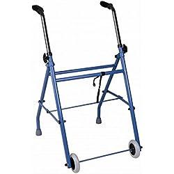 Andador caminador de adultos de acero plegable con dos ruedas