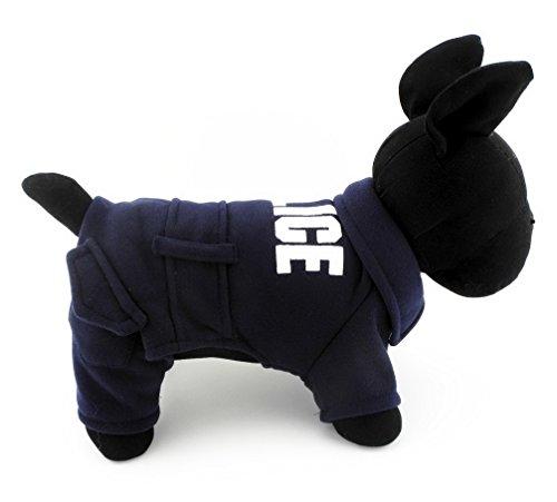 ranphy Small Pet Winter Kleidung Outfit für Hunde Katzen Polizei Jacke Pullover Jumpsuit Kleidung dunkelblau