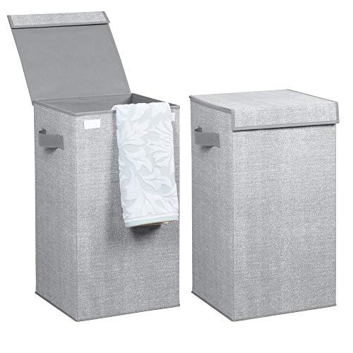 mDesign 2er-Set Wäschetruhe aus atmungsaktivem Polypropylen – Design Wäschekorb für Waschküche, Bad oder Schlafzimmer – faltbare Wäschetonne im Jute-Look mit Deckel und Griffen – grau