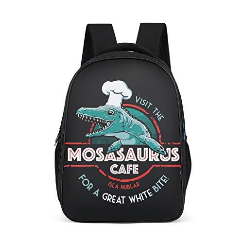 BOBONC Besuchen Sie das Mosasaurus Cafe Theme Daypacks Stilvolle Große Kapazität Schultasche Unisex Grundschüler Sporttasche für Schule Freizeit 32cm*18cm*42cm Polyester Jurassic Grey OneSize -