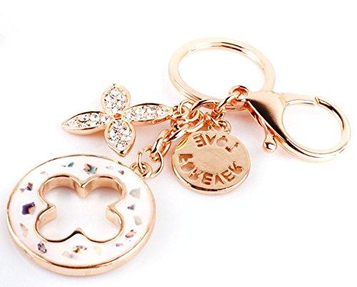 nument Charms Quadrifoglio portachiavi placcato in oro rosa cristallo Swarovski elementi donne auto portachiavi borsa decorazione regalo Confezione, Metallo, colorful