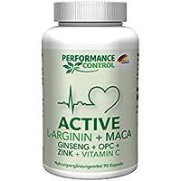 Preisvergleich für Performance Control ACTIVE, L-Arginin + Maca + Ginseng + OPC + Zink + Vtamin C, 100% Made in Germany, 90 Kapseln...