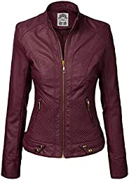 Made By Johnny MBJ WJC747 Womens Dressy Vegan Leather Biker Jacket M Wine