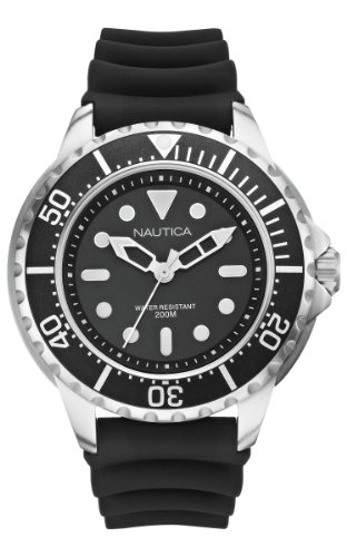 Nautica - A18630G - Montre Homme - Quartz Analogique - Cadran Noir - Bracelet Silicone Noir