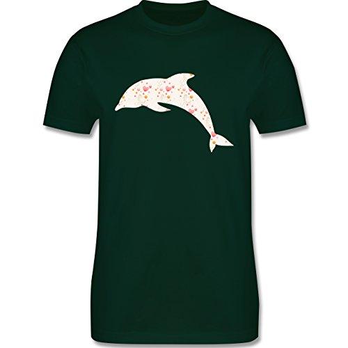 Sonstige Tiere - Delfin Herzen - Herren Premium T-Shirt Dunkelgrün