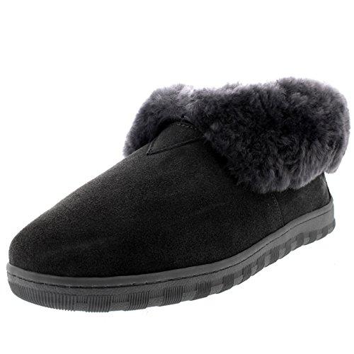 Polar Herren Pelz Gefüttert Echten Australischen Schaffell Pelz Manschette Stiefel Pantoffeln - Grau - UK10/EU44 - YC0455 -