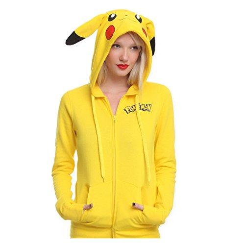 Price comparison product image Pokemon Anime Pikachu Jacket Cosplay Ears Face Tail Zip Hoody Shirt Hoodies M