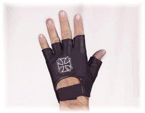 Fingerlose Handschuhe Leder schwarz Kreuz von Malta non-homologuées dieses - Indian Handschuhe Motorrad