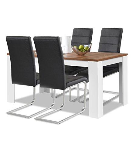 agionda® Esstisch + Stuhlset : 1 x Esstisch Toledo Nussbaum/Weiss 120 x 80 + 4 Freischwinger schwarz -