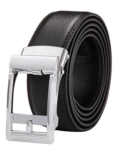 Alice & Elmer Cinturón Hombre Cuero Piel Cinturones Negro 135CM(Ajustable) con Automático Hebillas(Plata)
