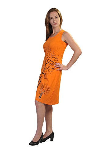 Damen ärmelloses Kleid mit Zweigen des Winters Baum Print-Design�?Orange
