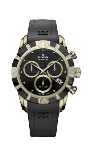 Edox Women's 10405 357JN NID Royal Lady Gold and Black PVD Rubber Chrono Watch