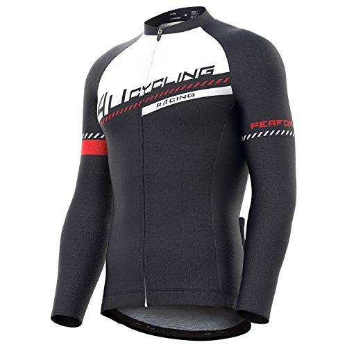 4Ucycling Herren Radtrikot mit durchgehendem Reißverschluss, feuchtigkeitsableitend, langärmelig, atmungsaktiv, Lauf-Top - Fahrrad Biking Shirt, Damen Herren, Prepare Color 1, Large - Langärmelige Trikot
